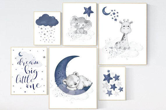 Nursery decor boy baby bear, elephant, giraffe, boy nursery decor, moon and stars, navy nursery, boy nursery wall art, dream big little one
