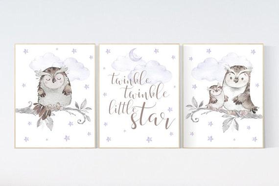Nursery decor girl purple, Nursery decor owl, lilac nursery, nursery wall art, owl nursery, lavender, twinkle twinkle little star, purple