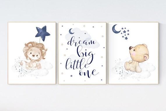 Nursery decor lion, bear navy nursery decor, dream big little one, moon and stars, navy blue nursery art. baby room art, animal nursery