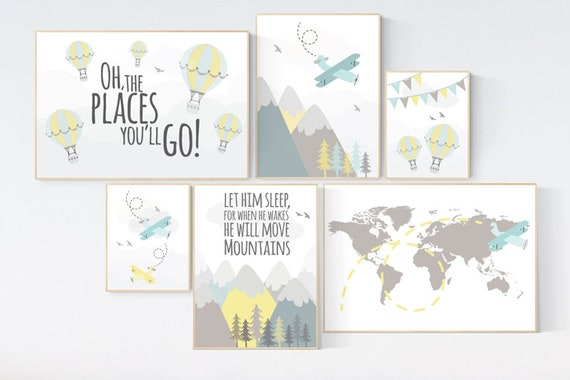 Nursery decor boy mountains adventure, let him sleep for when he wakes he will move mountains, nursery decor boy airplane, world map nursery