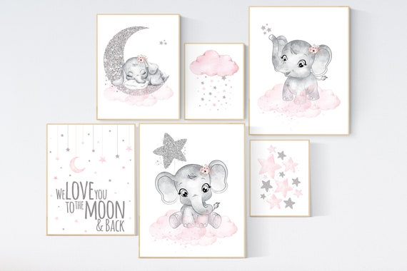 Nursery wall art girl, pink and silver, elephant nursery prints, nursery wall art girl, baby girl elephant nursery decor, girl nursery decor