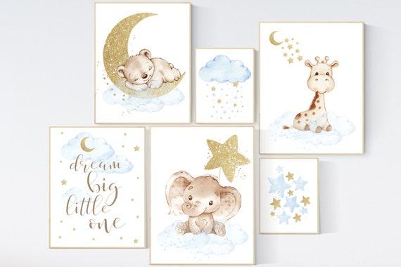 Nursery decor boy elephant and giraffe, Animal nursery for boys, blue gold, baby room wall art, nursery wall art animals, name nursery art
