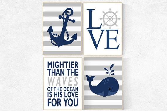 Nautical boy nursery, mightier than the waves, nautical baby room, Nautical Nursery Wall Art, Navy Gray Nursery Decor, whale nursery decor