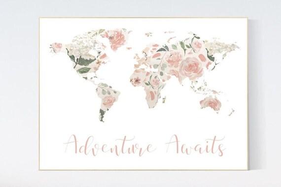 Canvas Listing: Floral World Map, Girl Nursery Decor, Travel Nursery Art, floral Nursery Print, blush nursery, Nursery baby girl room