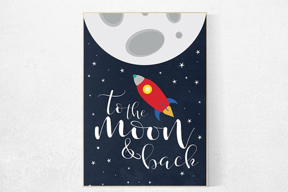 Space nursery art, to the moon and back, boys room decor, moon nursery, Outer Space, Space Decor, playroom decor, kids room, new baby gift