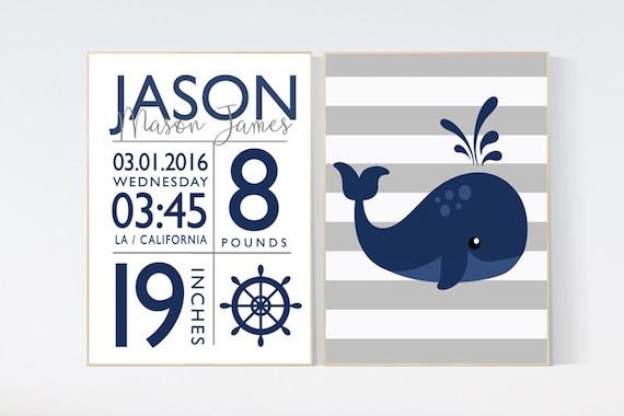 Nautical nursery prints, navy nursery decor, baby birth stats, Nautical decor, whale nursery decor, set of 2, name sign, Birth announcement