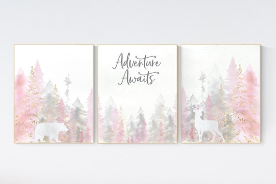 Nursery decor woodland, mountain wall art, pink gold nursery decor, adventure theme nursery, forest, pink and gray, woodland animals