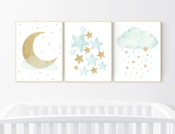 Mint gold nursery decor, stars, moon, cloud, nursery wall art mint, gender neutral nursery, mint green nursery, cloud nursery