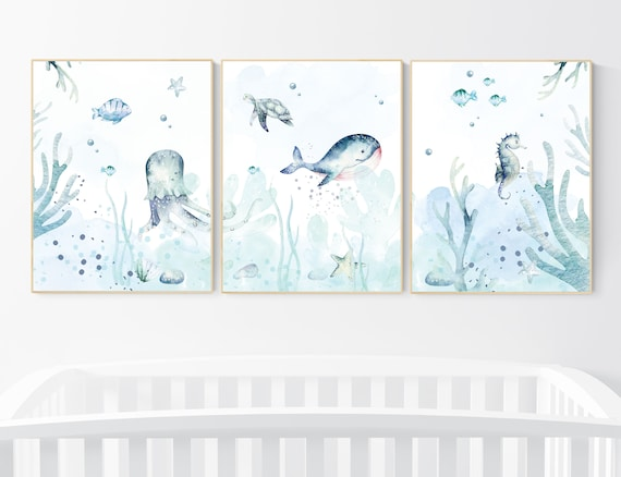 Nursery decor boy ocean, nursery wall art ocean, under the sea nursery, sea themed nursery, gender neutral nursery, ocean, nautical nursery