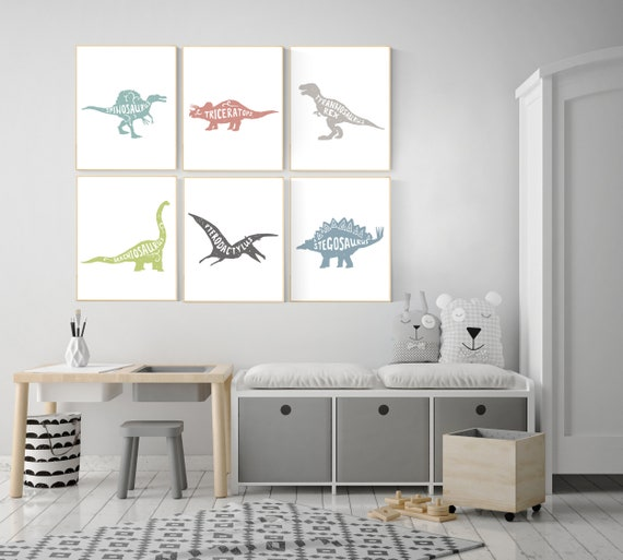 Nursery decor boy dinosaur, dinosaur wall art decor, kids room decor dinosaur, dino nursery, dinosaur prints, boy nursery bedroom, children