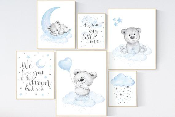 Nursery wall art bear, Nursery decor boy animal, nursery wall art boy, blue gray wall art, bear nursery art, nursery prints set