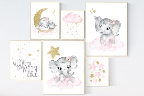 Nursery wall decor girl elephant, pink gold nursery art, elephant nursery decor girl, elephant nursery print, pink and gold, flower nursery