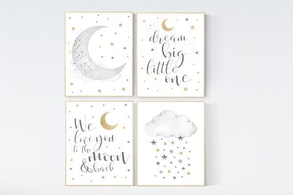 Nursery wall art grey, gray gold  nursery, rainbow nursery decor, baby room decor gender neutral, moon and stars, baby room wall art,