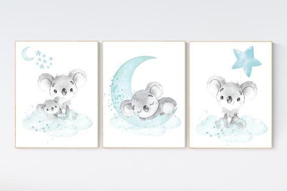 Koala nursery, teal nursery, moon and stars, nursery prints animals, gender neutral nursery, koala mother and baby, animal prints