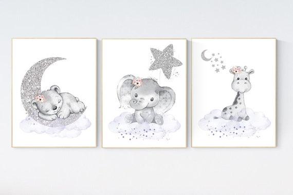 Animal nursery, nursery decor girl purple silver, nursery decor girl woodland animals, teddy bear, elephant, giraffe, nursery prints girl