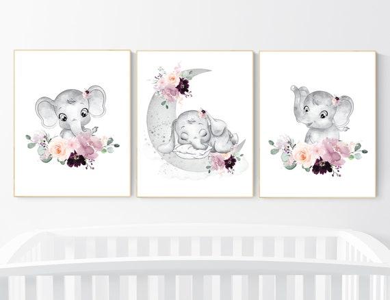 Elephant nursery, mauve, Burgundy, floral nursery, flower nursery, butterfly, nursery prints girl, nursery wall decor girl, flower nursery