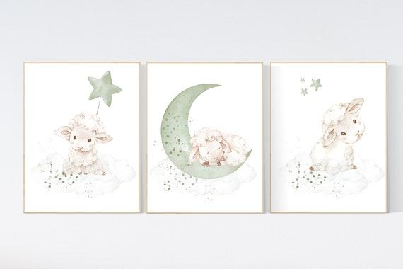 Mint nursery decor, nursery decor lambs, Sheep nursery decor, nursery wall art sheep, gender neutral nursery, cloud and star, mint green