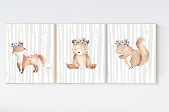 Nursery decor girl woodland, lilac nursery, lavender, purple nursery, woodland animals nursery, fox nursery, nursery art woodland, animal