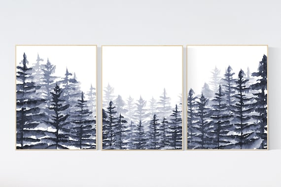 CANVAS LISTING: Nursery decor mountain, grey nursery, gender neutral, woodland nursery, adventure theme nursery, gray nursery