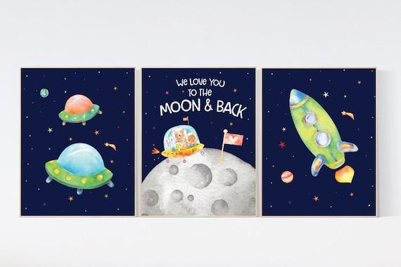 Space Nursery Decor, Nursery decor boy space, space wall art nursery, Space wall art, space print for nursery, space nursery theme