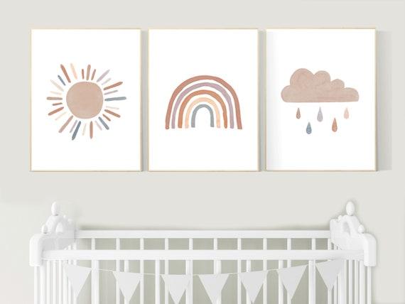 Nursery decor rainbow, gender neutral, Rainbow Wall Art, rainbow Print Set, Cloud Rainbow Sun, Rainbow Wall Art, gender neutral, Watercolor