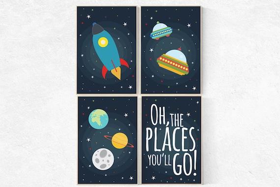 Space theme nursery, Space nursery decor, oh the places you'll go, nursery set, space themed nursery, kids room, navy nursery decor