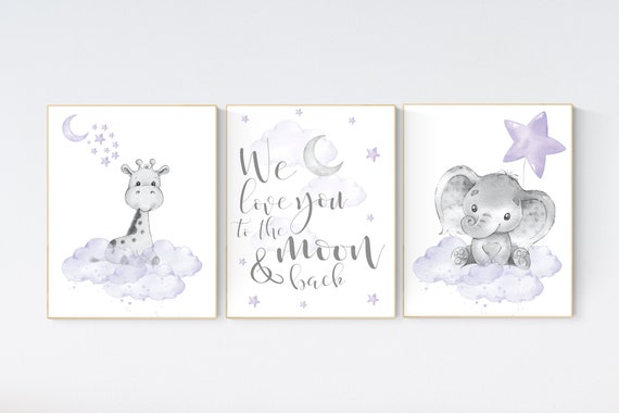 Girls room decor, Nursery decor girl lavender and gray, nursery decor girl purple, Elephant and giraffe, we love you to the moon and back