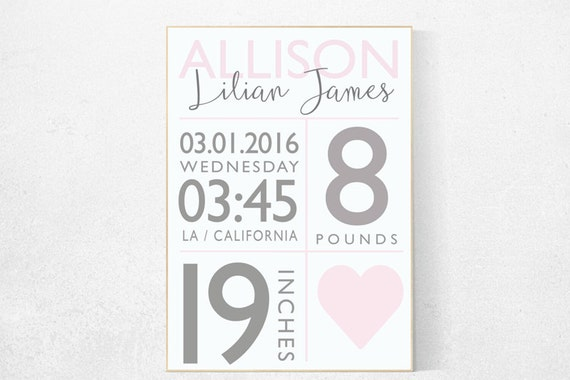 Girl birth announcement nursery decor, pink nursery decor, baby birth print, pink nursery, baby stats, new baby gift ideas Personalized