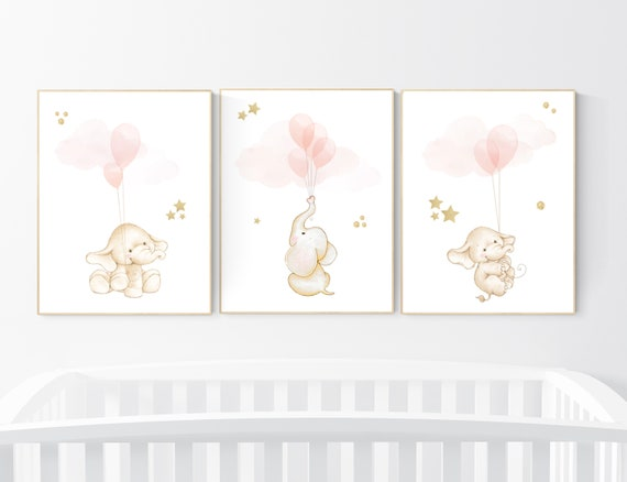 Nursery wall art girl, Blush pink nursery decor, blush gold nursery, nursery decor elephant, peach nursery, blush nursery, animal balloon