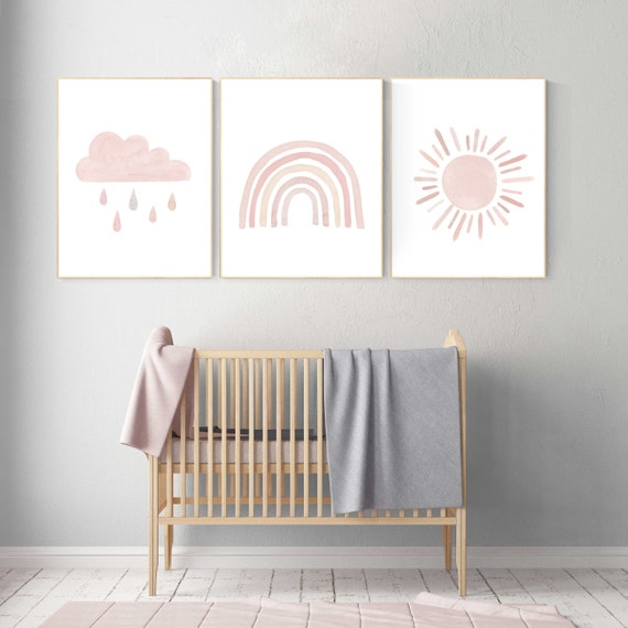 Nursery prints rainbow, Nursery decor girl, nursery wall art, blush pink, moon star, cloud, nursery wall art, light coral, blush, rainbow