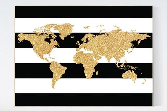 Canvas Listing: Black white gold decor, World Map,gold nursery decor, gold nursery art, Nursery Art, Nursery Prints, gold