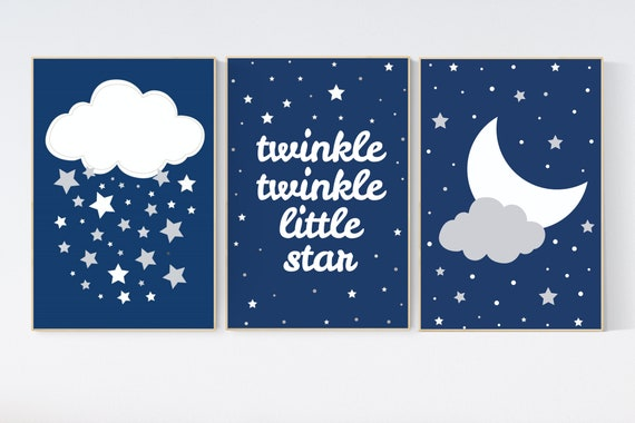 Navy nursery, twinkle twinkle little star, cloud nursery art, Baby boy nursery decor, navy gray nursery, boys room wall art, nursery prints