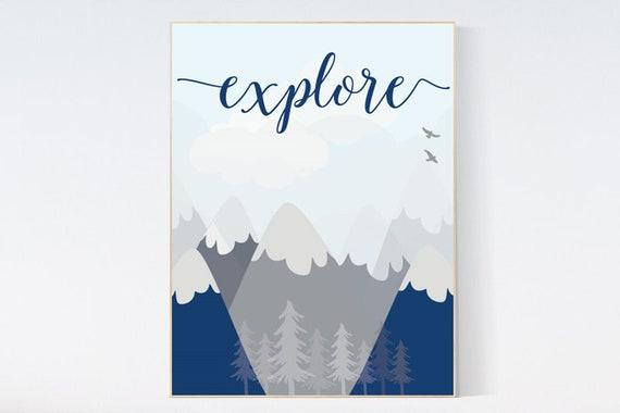 Explore, Nursery wall art woodland, Woodland nursery, baby room print, nursery prints neutral, baby room decor mountains, adventure nursery