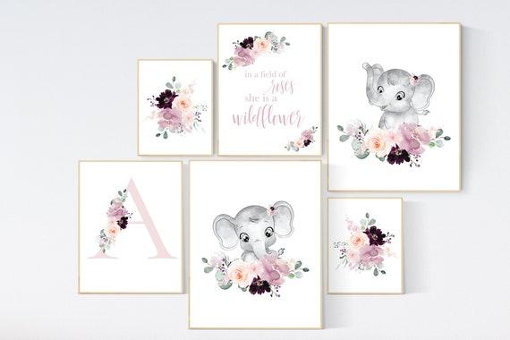 Nursery decor girl elephant, mauve, Burgundy, floral nursery, flower nursery, butterfly, in a field of roses she is a wildflower