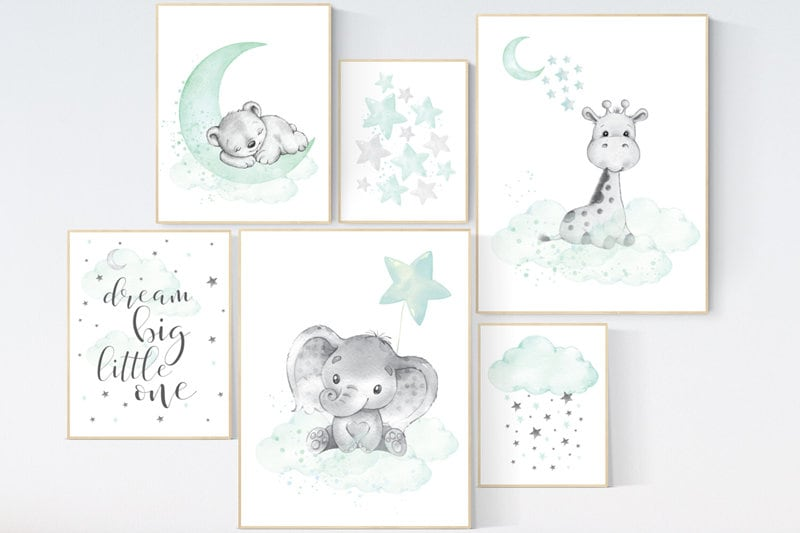 Mint nursery decor moon and stars nursery dream big little one mint green nursery decor mint and gray nursery gender neutral