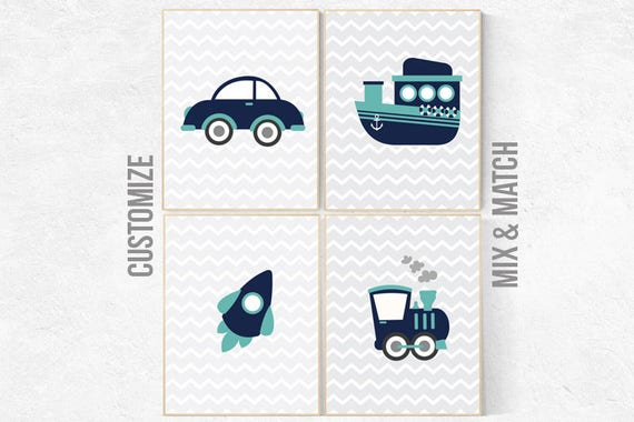 Transportation wall art, vehicles print, navy mint nursery decor, nursery prints boy, navy blue wall art, Nursery decor boy, transportation
