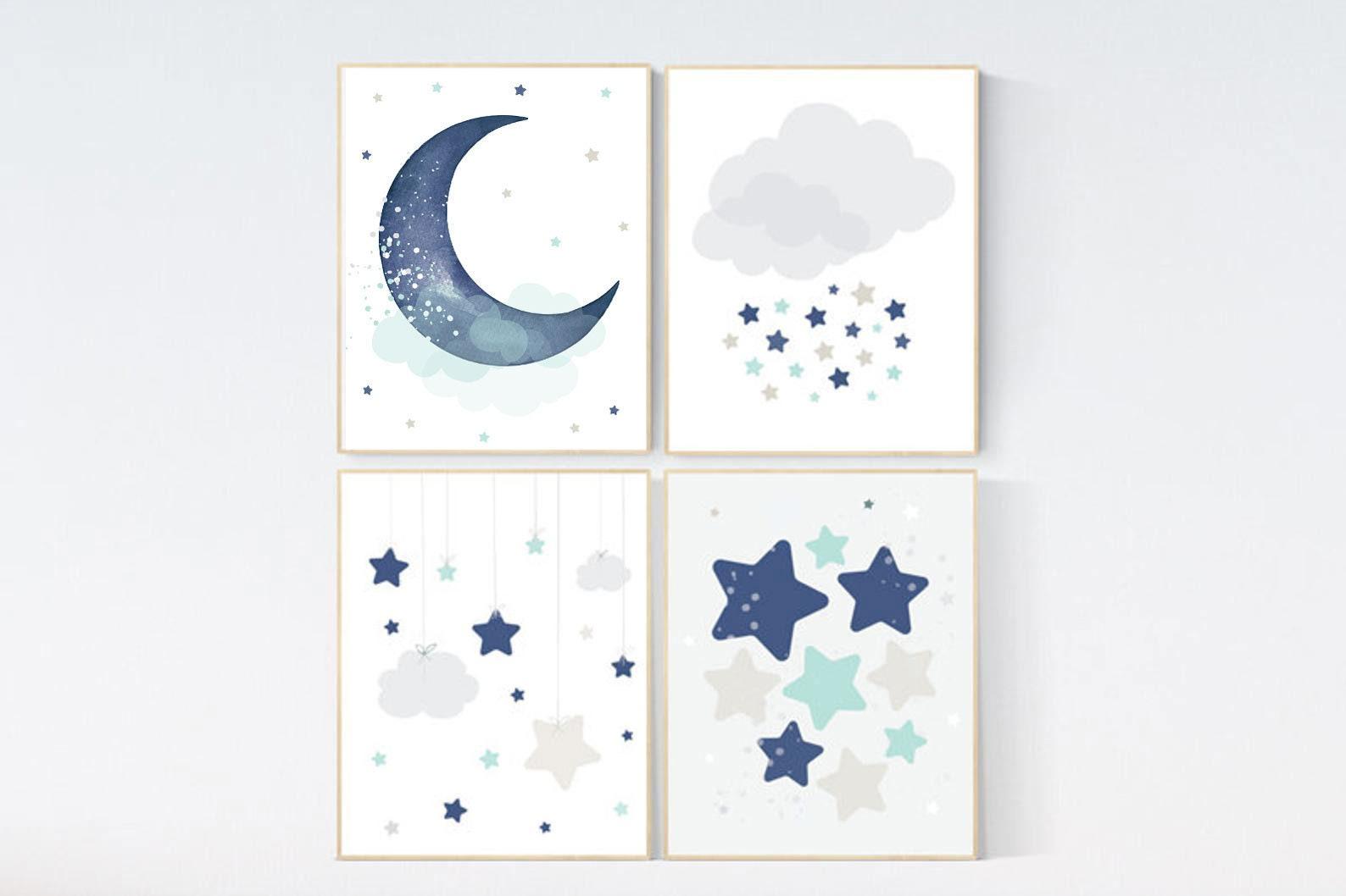Baby Boy Nursery Decor Navy Teal Gray Nursery Boys Room Wall Art Baby Room Prints Moon And Star Nursery