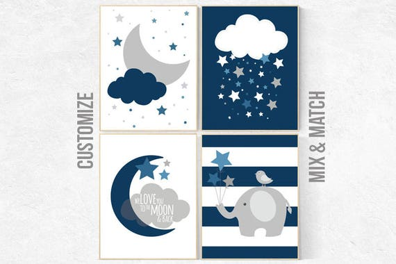 Nursery prints boy, navy blue nursery decor, dream big, nursery decor, elephant nursery, NAVY gray Nursery decor boy, nursery prints quotes