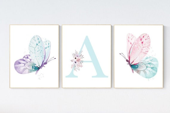 Nursery decor girl butterfly, pink, purple, teal nursery, mint pink nursery, girl room prints, baby girl nursery wall art butterfly wall art
