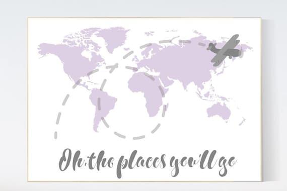 Nursery decor map, Lilac nursery decor, Oh the places you'll go, travel nursery decor, world map nursery, purple nursery decor, baby girl