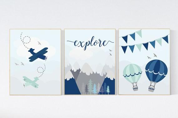 CANVAS LISTING: Adventure nursery decor, nursery decor boy adventure, nursery decor boy airplane, world map nursery, explore