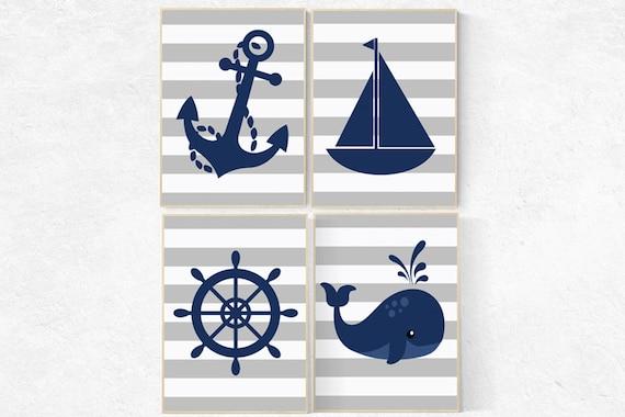 Nautical Nursery Wall Art, Navy Gray Nursery Decor, whale nursery decor, baby boy nursery, nautical prints, playroom decor, nautical nursery