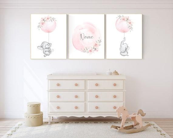 Elephant nursery, Nursery decor girl flower, blush nursery, blush pink, floral nursery, girl nursery name, nursery decor ideas, animal
