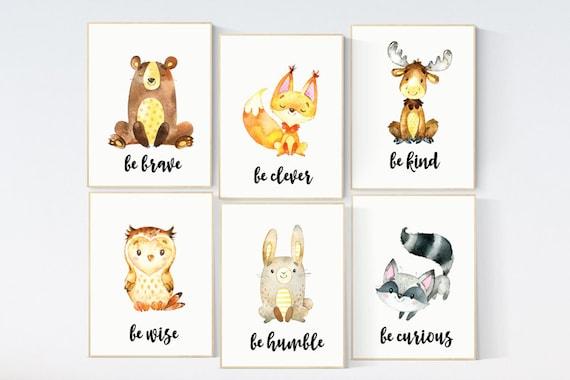 Nursery decor woodland, nursery decor animal, woodland animals, nursery wall art animals, woodland animals print, forest animals