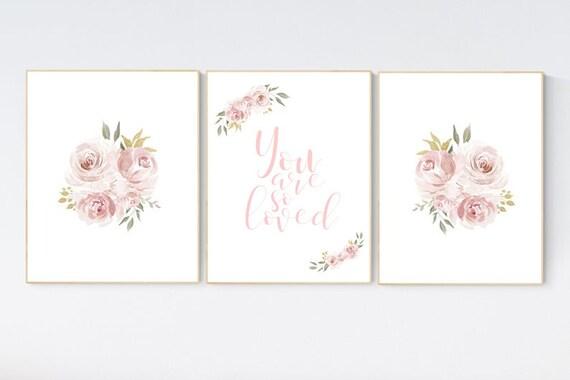 Nursery decor girl blush, nursery decor girl floral, rose, blush pink,  nursery decor flower, nursery wall art, floral nursery.