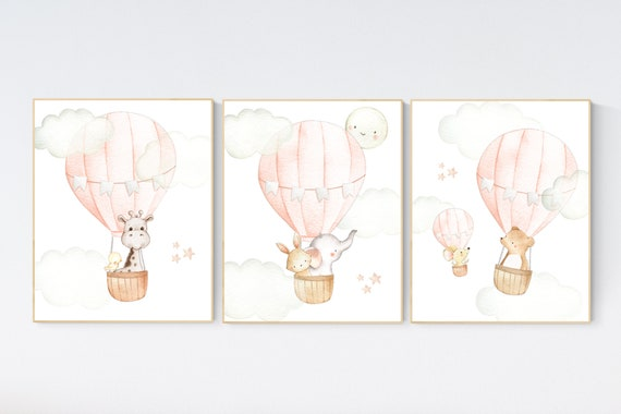 Hot air balloon nursery wall art, Nursery decor girl, hot air balloon nursery, peach nursery, nursery decor woodland animals, peach color