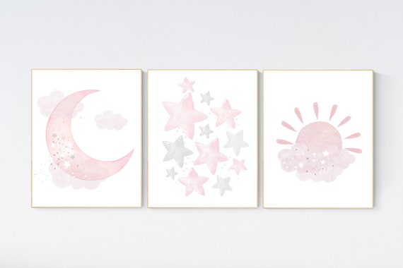 Nursery wall art girl, moon, sunshine, stars, Nursery decor girl, nursery wall art, pink nursery, nursery wall art, pink, girl nursery ideas