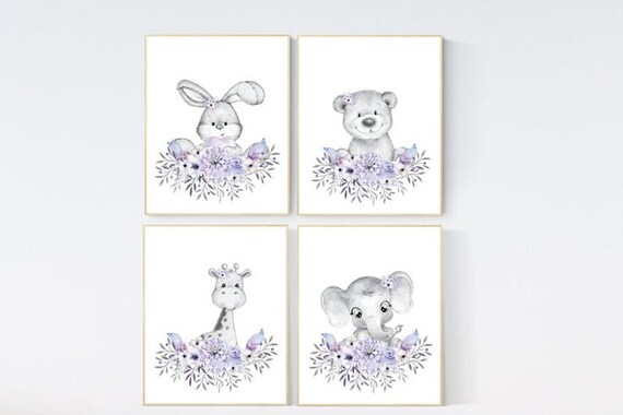 CANVAS LISTING: Purple nursery, floral jungle animals, boho nursery, woodland animals, lilac, elephant, bear, giraffe, bunny