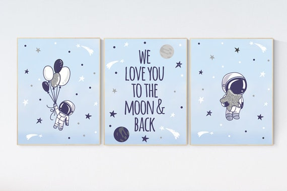 Nursery decor boy space, Boys room decor space, planets nursery print, we love you to the moon and back, space poster, space nursery art