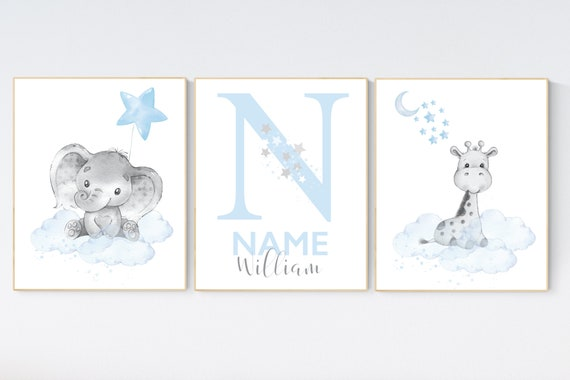 Nursery wall art animals, baby room decor blue, baby room decor, elephant, giraffe, animal nursery decor, nursery prints boy room decor